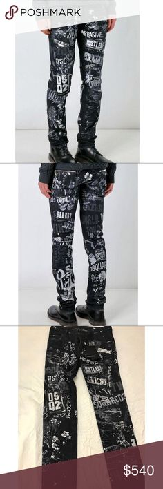 Dsquared2 Men's Graffiti-Print Skater Jeans. It's a brand new with tag DSquared2 skater  style jeans with allover graffiti-style print and light distressing. Retails $830 DSQUARED Jeans Slim
