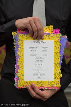 DIY paper cut wedding programs, used Martha Stewart paper cut