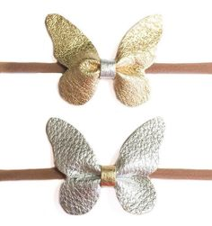 Perfect for your babies. These are my new super soft nylon bows! This listing includes 1 or 2 handmade genuine leather butterflies on nude nylon.