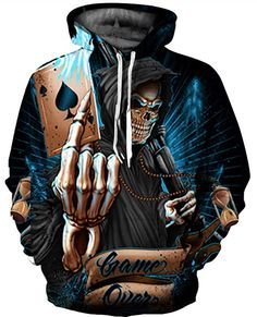 b5089cdf67ee Amazon.com Hoodie Grim Reaper Game Over Halloween Novelty Mens Womens  Unisex Realistic 3D Digital Print Pullover Hooded Jacket Sweatshirt Fashion  Clothing ...