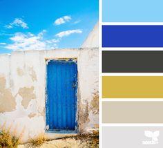 a door hues Color Palette Yellow Front Doors, Front Door Colors, Colour Pallette, Colour Schemes, Color Combinations, Pantone Azul, Living Colors, Sky Design, Design Seeds