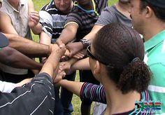 Human Spiderweb team building exercise