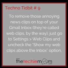 Techno Tidbit #9: Disabling Web Clips