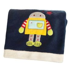 Robots Play Space Aliens Embroidered Boa Security Boys Baby Blanket By Kidsline #Kidsline