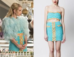 Chanel Oberlin (Emma Roberts) wears this blue fuzzy tube crop top and matching skirt in this weeks episode of Scream Queens. They are both from Moschino. Buy the top HERE, and the skirt HERE.