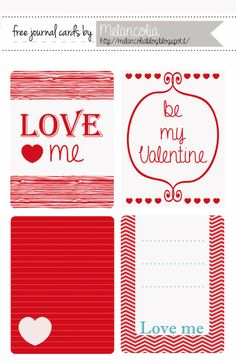 Free Printable Valentine Journal and Filler Cards for Project Life