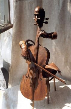 """Entr'acte"""" Caucasian walnut wood sculpture by Yuri Firsanov. Entr'acte"""" Caucasian walnut wood sculpture by Yuri Firsanov. Arte Cello, Violin Art, Cello Music, Instruments, Wooden Art, Wood Sculpture, Wood Carving, Amazing Art, Awesome"""