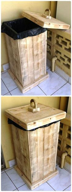Pallet Trash Bin - 20 Best Pallet Ideas to DIY Your Own Pallet Furniture - Page 2 of 2 - DIY & Crafts #furniturefinds
