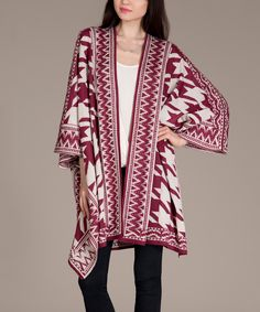 Oatmeal & Burgundy Houndstooth Cape-Sleeve Open Cardigan | zulily