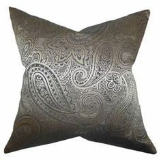 """Made in Boston, Massachusetts, this captivating cotton pillow showcases an exotic-inspired paisley motif.    Product: PillowConstruction Material: Cotton cover and 95/5 down fillColor: CharcoalFeatures:  Insert includedHidden zipper closureMade in Boston Dimensions: 18"""" x 18""""Cleaning and Care: Spot clean"""