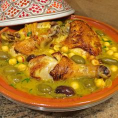 Chicken Tagine with Chickpeas, Olives and Preserved Lemon