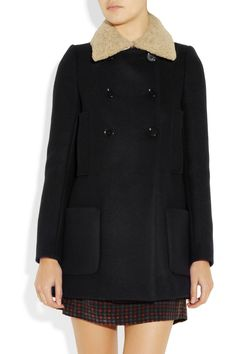 Maje  Stylo shearling-collared wool and cashmere-blend coat  $600