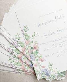 Bespoke wedding invitations with watercolour wildflower floral illustrations. Bespoke Wedding Invitations, Spring Wedding Invitations, Wedding Stationery, Watercolor Invitations, Floral Illustrations, Save The Date, Wild Flowers, Signage, Watercolour