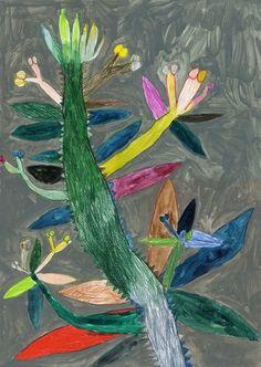 Miroco Machiko Vibrant Flora and Fauna Paintings inspiration Art And Illustration, Illustrations, Botanical Illustration, Art Chinois, Plant Painting, Morris, Arte Popular, Naive Art, Japanese Artists