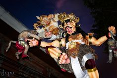 Ogoh-Ogoh statues - meant to frighten away evil sprits - are paraded around town ahead of Nyepi, which is the Balinese 'Day of Silence.' www.jayme.me