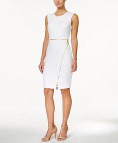Calvin Klein Sleeveless Zipper Sheath Dress | macys.com