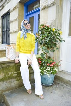 Bright Yellow + White Wide Leg Pants in the Upper West Side