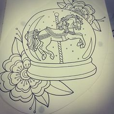 Little drawing hope to tattoo this soon #horse#snowglobe#tattoodesign#tattoo#flower#inkcity