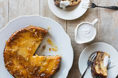 Whisky and marmalade croissant pudding with coconut cream