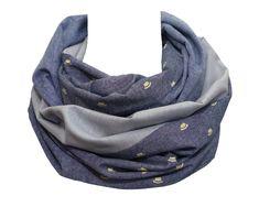 Polina Couture - Echarpe double tour de cou   snood, réversible, associant  le gris 8a6383b2443