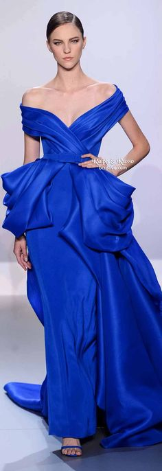 Ralph & Russo Spring 2014 HC | Royal blue silk gazar and crepe off-shoulder ballgown with bustle | evening gown | high fashion
