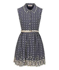Look at this #zulilyfind! Navy & White Kaleidoscope Embroidered Dress by Louche #zulilyfinds