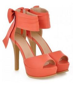 Stunning Coral Heels! Sexy Bows and Stiletto High Heels