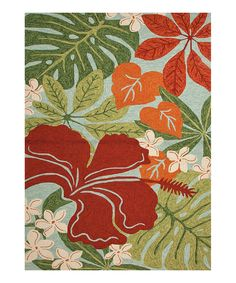 Love this Green & Red Floral Indoor/Outdoor Rug by Jaipur Rugs