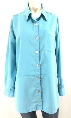 e48a690ac29 Details about TravelSmith Womens Shirt Tunic Medium Blue Button Down Long  Sleeve Pocket Soft