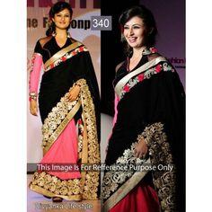 Black and peace saree