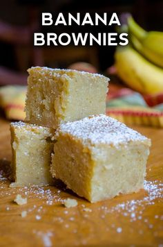 """If you're bananas for bananas, these """"brownies"""" are going to be your favorite new thing. They're like an incredibly moist and fudgy brownie, but rich in banana flavor instead. And there's the nicest subtle hint Banana Brownies, Banana Bars, Chocolate Brownies, Just Desserts, Delicious Desserts, Dessert Recipes, Raw Desserts, Bar Recipes, Banana Recipes"""