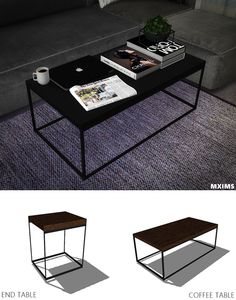 Industrial Coffee Table & End Table ( 6 Swatches ) Credit: @marcussims91 Coffee   NY Times   Book   Plant   Macbook