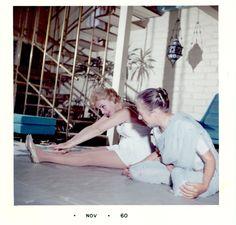 Stretching 1960. Eva Gabor with Indira Devi.