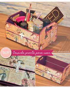 Aprenda o passo a passo bem fácil para criar a sua própria caixa para cosméticos ou pincéis, usando papel de scrapbook, caixinhas de mdf e tinta.