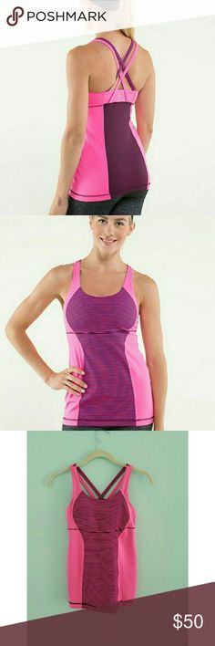 Lululemon Energy Tank hyper stripe Super cute Lululemon tank. Missing size tag but I believe it is a size 4. Please see measurements.   No trades please  Will consider reasonable offers lululemon athletica Tops Tank Tops