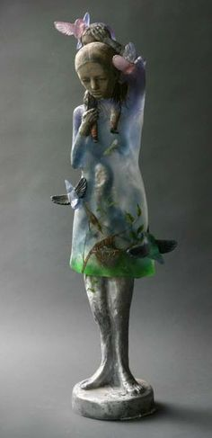 """Made by: Christina Bothwell , """"One Love"""" -  cast glass, found glass, pit fired clay, cast aluminum, oil paints. Made in: 2013  (Picture nr. 1 of 3)"""