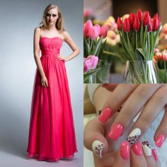 pink abito da sera lungo senza spalline chiffon lustrini