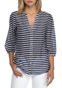 Sail to Sable Stripe Blouse Gilet Long, Matching Couple Shirts, Pantalon Large, Nautical Fashion, T Shirt Yarn, Fashion Tips For Women, Shirt Blouses, Blouse Designs, Blouses For Women