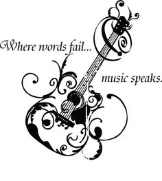 "Music Guitar Wall Decal | Where Words Fail Music Speaks Quote | Bedroom Sticker 22""x22"" on Etsy, $23.96 AUD"