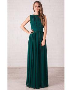 Bridesmaid Dress Green Maxi Evening Party Chiffon par Dioriss