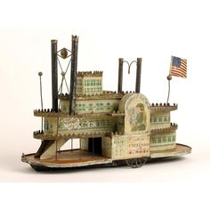 Folk Art pull toy  Excelsior steam riverboat  ca. 1870, made by George W. Brown