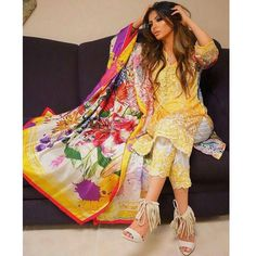 Faryal makhdoom looks stunning in this vibrant yellow lawn suit. We are loving the colourful dupatta. To get this look contact styleyourkameez@gmail.com or message 778-996-6479 for prices and inquiries. #pakistan #pakistaniclothes #pakstyle #pakistaniicon #fashion #suit #anarkali #kameez #styleyourkameez #ootd #ootn #love #pyjamakameez #pakistanifashion #affordable #elan #manishmalhotra #pk #indiansuits #india #customize #sabyasachi #mehndi #shaadi #wedding #sangeet #indianwedding…