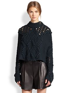 3.1 Phillip Lim - Cropped Cable Knit Poncho Sweater