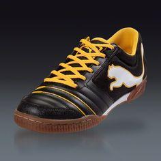 PUMA PowerCat 4.12 Sala - Black/White/Team Yellow Indoor Soccer Shoes || SOCCER.COM