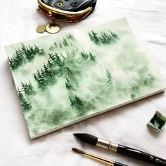 Since the past 2 days ork in progress of this monochrome misty pines forest. This is my entry for Watercolor Trees, Watercolor Landscape, Landscape Paintings, Watercolor Paintings, Watercolours, Forest Drawing, Forest Painting, Watercolor Techniques, Art Techniques