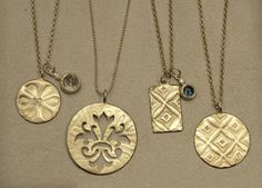 Owner Kate Mancini has found some of the most unusual and beautiful jewelry I've seen in a while. These necklaces are handmade in New York City using recycled materials, in this case, sterling silver and 10KT gold imprinted using Indian wood blocks.