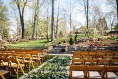 Fairy Tale Garden Wedding, outdoor ceremony, rose petal aisle, floral design. For more inspiration, visit www.fetenashville.com | Féte Nashville