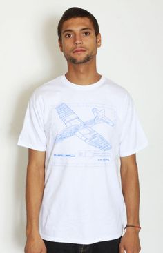 Staple Design Glider Plane T-Shirt by Benny Gold. Printed on white 100% cotton t-shirts.