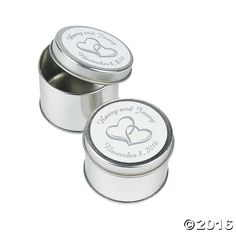 Personalized Two Hearts Silvertone Tins - OrientalTrading.com