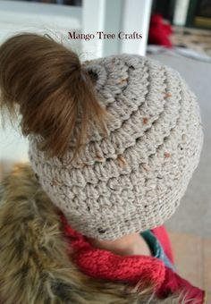 "Messy Bun Hat Free Crochet Pattern Materials used: ⦁ Hair tie about 2"" in diameter ⦁ Worsted weight yarn (I used Bernat Wool-U..."